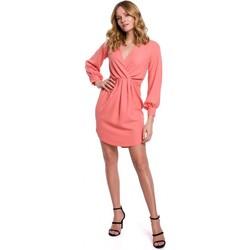 Textiel Dames Korte jurken Makover K044 Gedrapeerde shift jurk - oranje