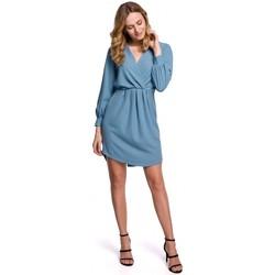 Textiel Dames Korte jurken Makover K044 Gedrapeerde shift jurk - hemelsblauw