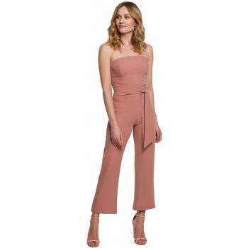 Textiel Dames Jumpsuites / Tuinbroeken Makover K045 Bandeau top jumpsuit - rose