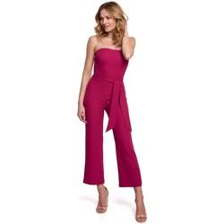 Textiel Dames Jumpsuites / Tuinbroeken Makover K045 Bandeau top jumpsuit - pruim
