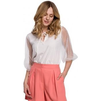 Textiel Dames Tops / Blousjes Makover K057 Geblokte polkadot blouse - wit