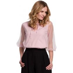 Textiel Dames Tops / Blousjes Makover K057 Geblokte polkadot blouse - crêpe roze