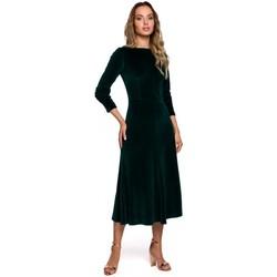 Textiel Dames Lange jurken Moe M557 Fluwelen Midi Jurk met Gathered Mouwen - groen