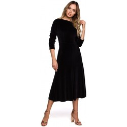Textiel Dames Lange jurken Moe M557 Fluwelen Midi Jurk Met Geruite Mouwen - zwart