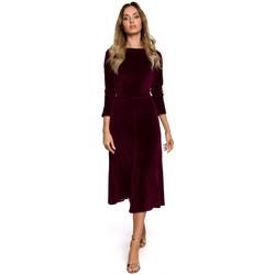 Textiel Dames Lange jurken Moe M557 Fluwelen Midi Jurk met Geruite Mouwen - kastanjebruin