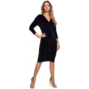 Textiel Dames Korte jurken Moe M561 Fluwelen Wrap Top Jurk - marine blauw
