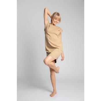 Textiel Dames Korte jurken Lalupa LA033 Geribd katoenen Loungewear Jurk - cappuccino