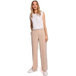 Textiel Dames Losse broeken / Harembroeken Moe M570 Broek met gekreukte pijpen - beige