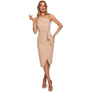 Textiel Dames Lange jurken Moe M572 Jurkje met enkel riempje - beige