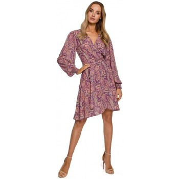 Textiel Dames Korte jurken Moe M576 Wikkeljurk met bisschopsmouwen - model 2