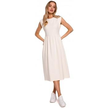 Textiel Dames Lange jurken Moe M581 Hoge taille mouwloze jurk - crème