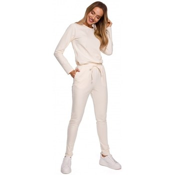 Textiel Dames Jumpsuites / Tuinbroeken Moe M583 Gebreide jumpsuit met opgestikte zak - crème