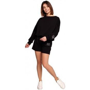 Textiel Dames Korte broeken / Bermuda's Be B186 Korte broek met borduursel - zwart