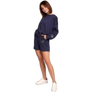 Textiel Dames Korte broeken / Bermuda's Be B186 Korte broek met borduursel - blauw