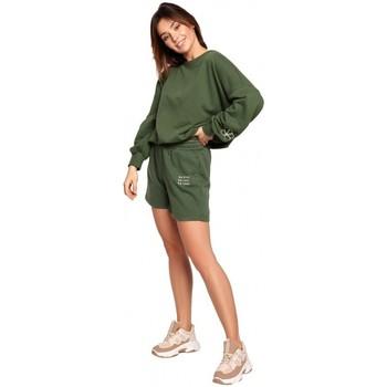 Textiel Dames Korte broeken / Bermuda's Be B186 Korte broek met borduursel - grasgroen
