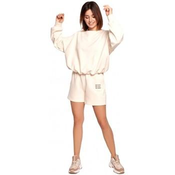 Textiel Dames Korte broeken / Bermuda's Be B186 Korte broek met borduursel - vanille