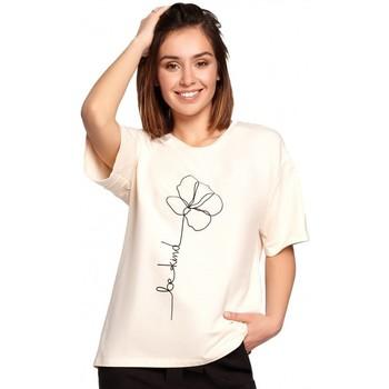 Textiel Dames Tops / Blousjes Be B187 T-shirt met bloemenprint - crème