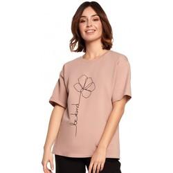 Textiel Dames Tops / Blousjes Be B187 T-shirt met bloemenprint - Mokka