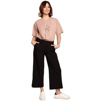 Textiel Dames Losse broeken / Harembroeken Be B188 Culottes met elastische tailleband - zwart