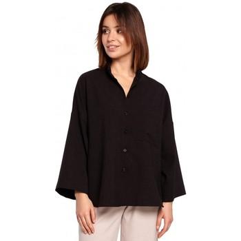 Textiel Dames Overhemden Be B191 Oversized Shirt Met Kraag - zwart