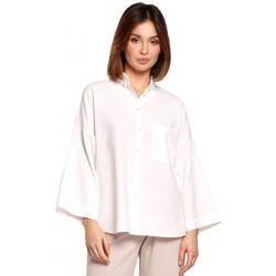 Textiel Dames Overhemden Be B191 Oversized Shirt Met Kraag - wit