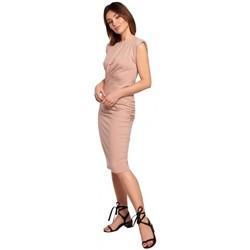 Textiel Dames Korte jurken Be B193 Aansluitende jurk met ruches aan de zijkanten - Mokka