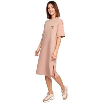 Textiel Dames Korte jurken Be B194 Relaxed Fit T-shirt Jurk - Mokka
