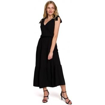 Textiel Dames Lange jurken Makover K092 Schouderbandjesjurk - lavendel