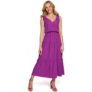 Textiel Dames Lange jurken Makover K092 Schouderbandjurk - pruim