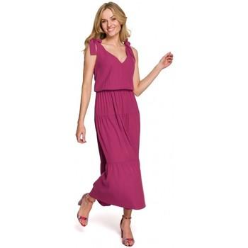 Textiel Dames Lange jurken Makover K092 Schouderbandjurk - hemelsblauw