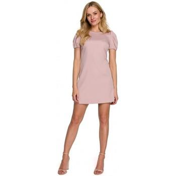 Textiel Dames Korte jurken Makover K095 Mini jurkje met pofmouwtjes - ecru