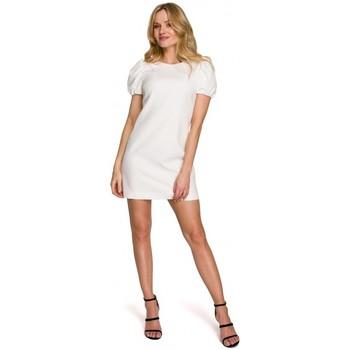 Textiel Dames Korte jurken Makover K095 Mini jurkje met pofmouwtjes - diepblauw