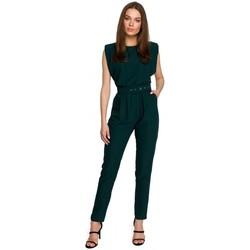 Textiel Dames Jumpsuites / Tuinbroeken Style S259 Mouwloze jumpsuit met gewatteerde schouders - poeder