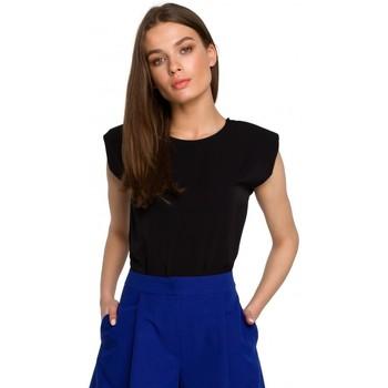 Textiel Dames Tops / Blousjes Style S260 Mouwloze blouse met gewatteerde schouders - blauw