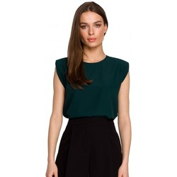 Textiel Dames Tops / Blousjes Style S260 Mouwloze blouse met gewatteerde schouders - groen