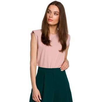 Textiel Dames Tops / Blousjes Style S260 Mouwloze blouse met gewatteerde schouders - poeder