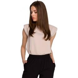 Textiel Dames Tops / Blousjes Style S260 Mouwloze blouse met gewatteerde schouders - beige