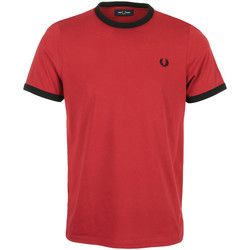 Textiel Heren T-shirts korte mouwen Fred Perry Ringer T-Shirt Rood