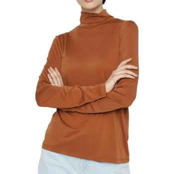 Textiel Dames T-shirts met lange mouwen Pieces  Bruin