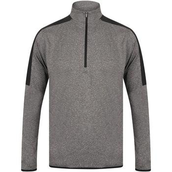 Textiel Heren T-shirts met lange mouwen Finden & Hales LV571 Grijze mergel/zwart