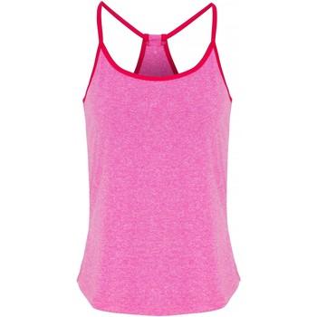 Textiel Dames Tops / Blousjes Tridri TR043 Roze gemêleerd/heet Roze