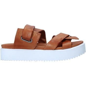 Schoenen Dames Leren slippers Sshady MRT343 Bruin