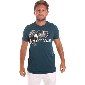 Textiel Heren T-shirts korte mouwen Roberto Cavalli HST68B Groen