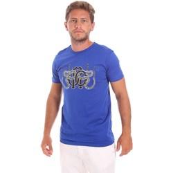 Textiel Heren T-shirts korte mouwen Roberto Cavalli HST66B Blauw