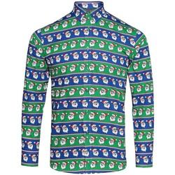 Textiel Heren Overhemden lange mouwen Christmas Shop CS001 Kerstman-blauw/groen