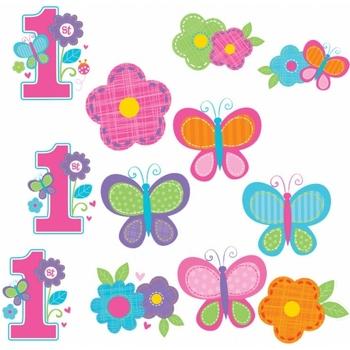 Wonen Stickers Amscan Taille unique Bloemen/vliegen