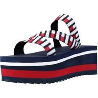Schoenen Dames Sandalen / Open schoenen Tommy Jeans FLAG WEBBING FLATFORM MU Blauw