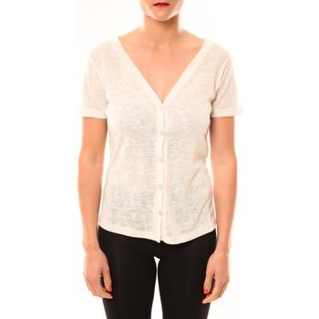 Textiel Dames T-shirts korte mouwen Meisïe Top 50-608SP14 Écru Beige