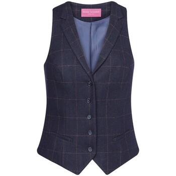 Textiel Dames Gilets Brook Taverner BK521 Navy Check
