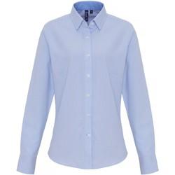 Textiel Dames Overhemden Premier PR338 Wit/lichtblauw